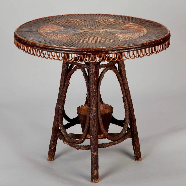 French Round Bent Willow Twig Table With Star Design Inlay - Image 2 of 9