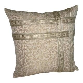 Schumacher Gold/Cream Leopard Print Pillow For Sale