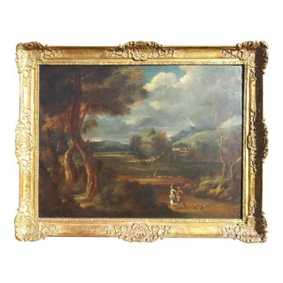 """17th Century """"Travelers in a Stormy Landscape"""" Landscape Oil Painting Attributed to Gaspard Dughet, Framed For Sale"""