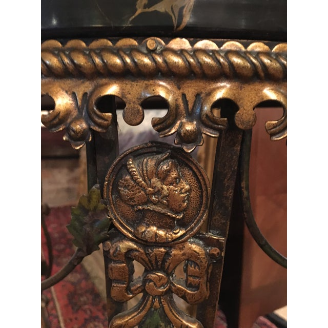 Mid 20th Century 20th Century Hollywood Regency Iron Demi-Lune Hall Table With Black Marble Top For Sale - Image 5 of 13