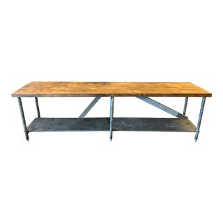 20th Century Industrial Butcher Block Table For Sale