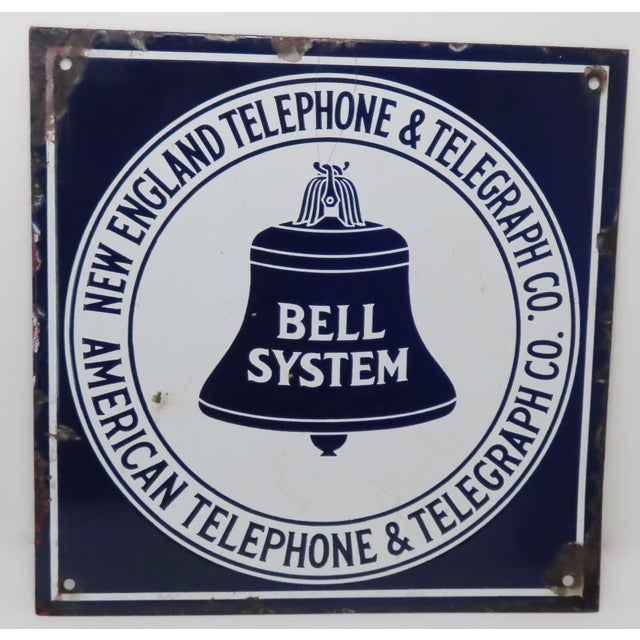Antique Porcelain on Steel Bell Telephone Advertising Sign For Sale - Image 13 of 13