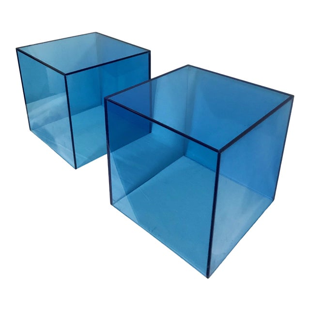 Haziza Lucite Cube End Table in Sky Blue, a Pair For Sale