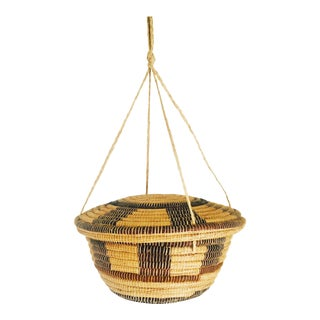 Vintage Hanging Lidded Coil Basket For Sale