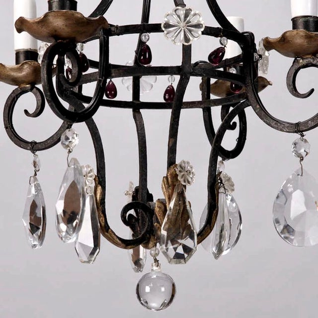 1930's French 4-Light Black Iron & Crystal Chandelier - Image 4 of 4