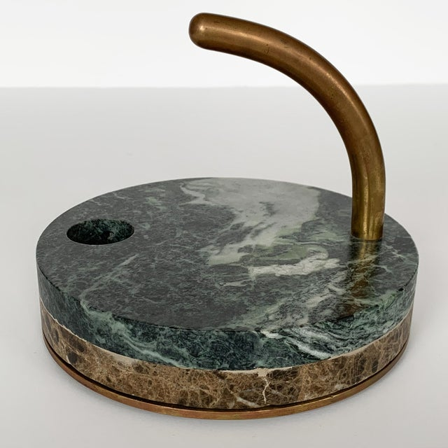 Green 1980s Italian Modernist Marble and Bronze Candleholders - a Pair For Sale - Image 8 of 10