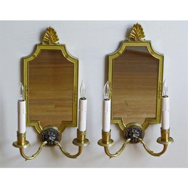 1940s French Brass Mirrored Lion Wall Sconces - a Pair For Sale - Image 9 of 11