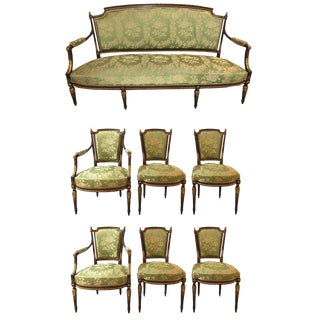 Louis XVI Style Parcel Gilt Mahogany Seven Piece Parlor Suite For Sale