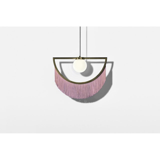 Metal Wink Gold-Plated Floor Lamp Postmodernist Style With Cream Pink Fringes For Sale - Image 7 of 9