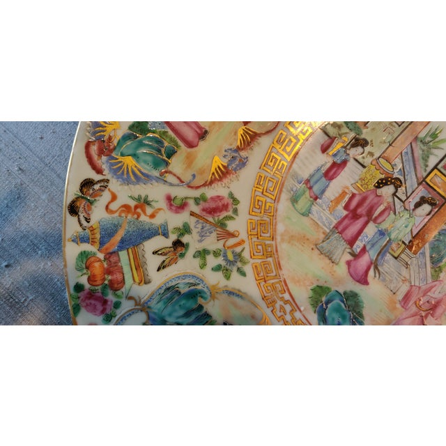 Chinese Rose Mandarin Pattern Porcelain Charger, Framed For Sale In Memphis - Image 6 of 11