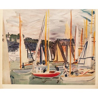 1950s Raoul Dufy, Harbor at Deauville Large Vintage Lithograph For Sale