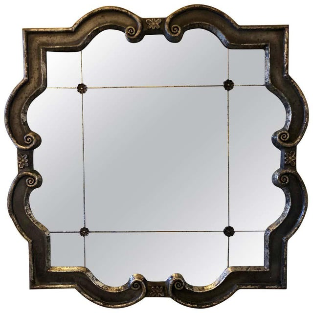 Hollywood Regency Style Wall Mirror Silver Overlay Decorated Midcentury For Sale - Image 11 of 11