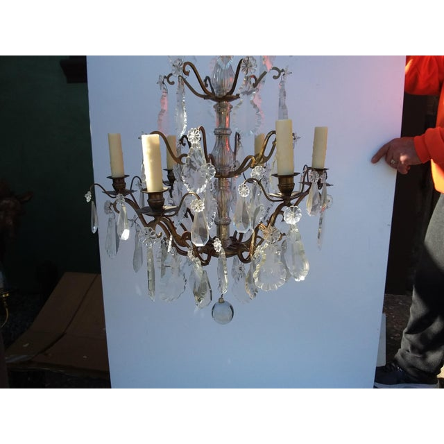French French Bronze and Crystal Cage Style Chandelier For Sale - Image 3 of 13
