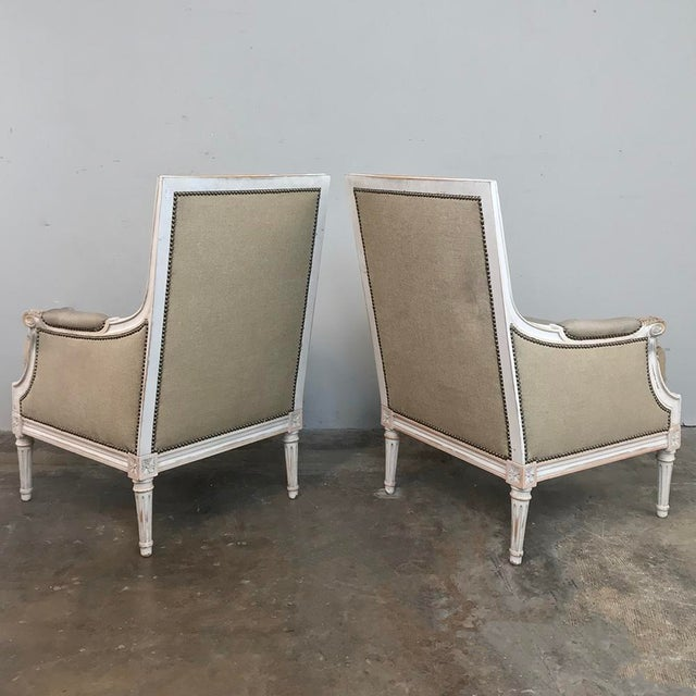 Pair 19th Century French Louis XVI Bergeres ~ Armchairs For Sale - Image 12 of 13