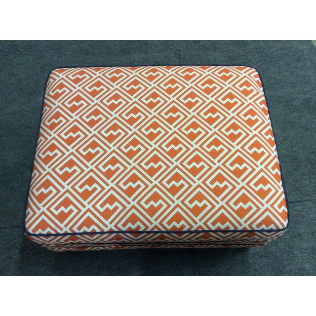 Vintage Orange & White Ottoman For Sale - Image 5 of 8