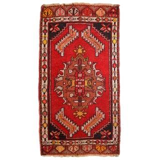 1960s, Handmade Vintage Turkish Yastik Rug 1.6' X 3.1' For Sale