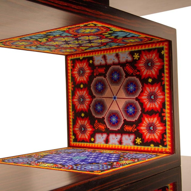 Contemporary rosewood coffee table with hand beaded design by Mexican artist, Alire De Alvarez. This table comes is...
