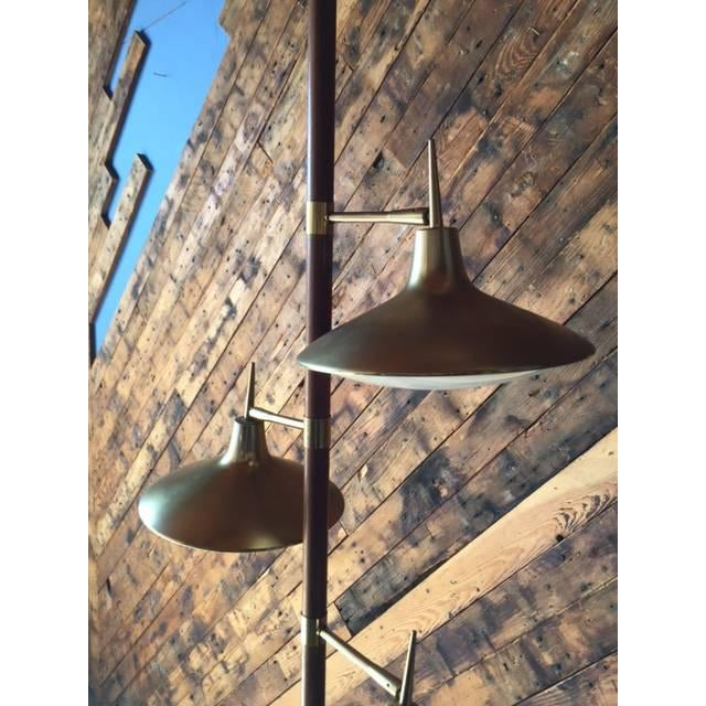 Mid-Century Brass & Wood Tension Pole Lamp - Image 10 of 11