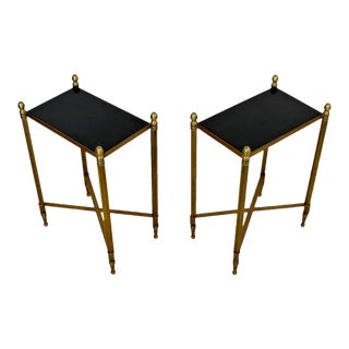 Contemporary Modern Pair of Global Views Bronze Acorn Side End Tables