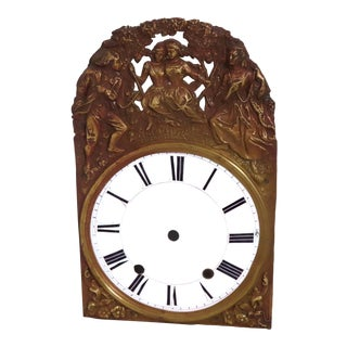 Antique French Brass Wall Clock Dial Circa Mid 19th Century For Sale