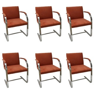 Brno Flat Bar Brueton Chairs Mies Van Der Rohe Knoll Polished Steel Ultra Suede - Set of 6 For Sale