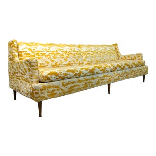 1950s Vintage Mid Century Modern Velour Sofa For Sale