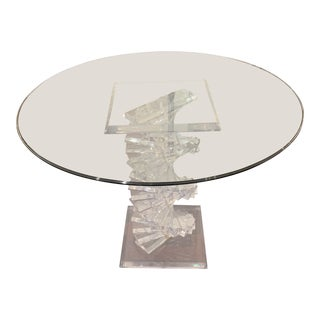 1960s Modern Lucite Base Center Table For Sale