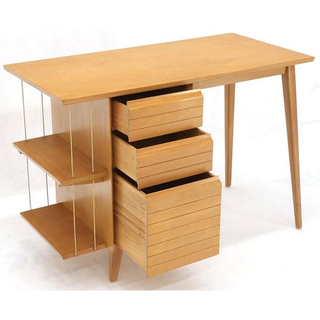 1970s Light Birch Single Pedestal Petit Desk With Bookcase and Three Drawers For Sale - Image 5 of 12