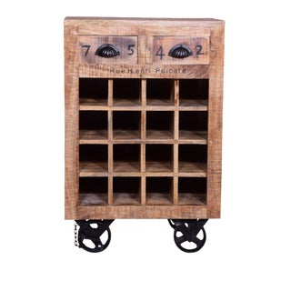 Primitve Brin Two Drawer Wine Rack
