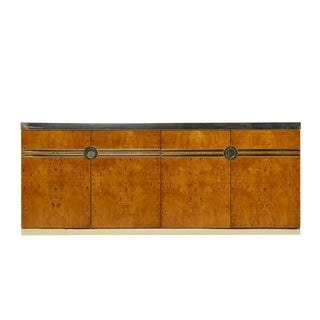 Pierre Cardin Credenza Burl and Brass For Sale