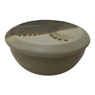 Abstract Chinoiserie Studio Pottery Trinket Bowl For Sale