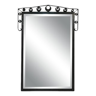 Outstanding Iron Wall Mirror in the Manner of Oscar Bach For Sale