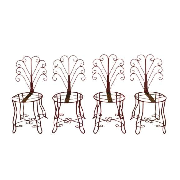 1950s 1950's Vintage French Iron Garden Chairs- Set of 4 For Sale - Image 5 of 5