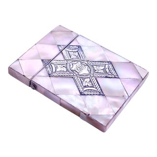 Large Mother of Pearl Marquetry Card Case With Engraved Silver X Form Inset For Sale