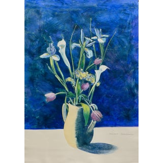 Contemporary Drawing, Flowers in a Yellow Vase For Sale