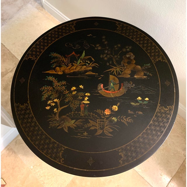 Absolutely gorgeous signed Katherine Henick hand painted chinoiserie side table. Henick was a highly sought after...