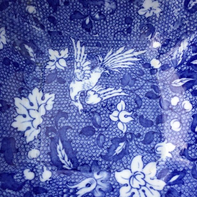 Vintage Blue Transferware Chintz Bird Bowl For Sale - Image 4 of 9