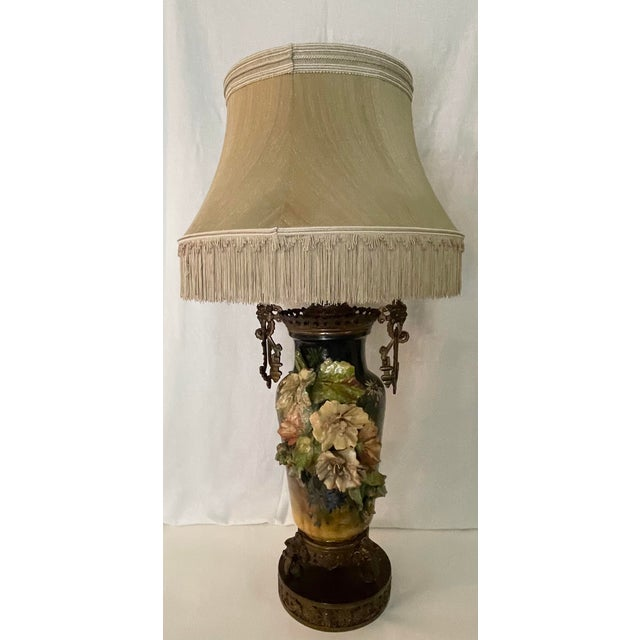 19th C. Over-Scale Lamp W/Dramatic 3-Dimensional Floral Details & Orientalist Bronze Mounts For Sale - Image 13 of 13