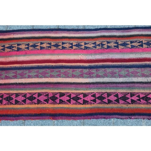 Colorful Striped Cicim Kilim -5' X 1' 5'' Kilim - Image 8 of 11