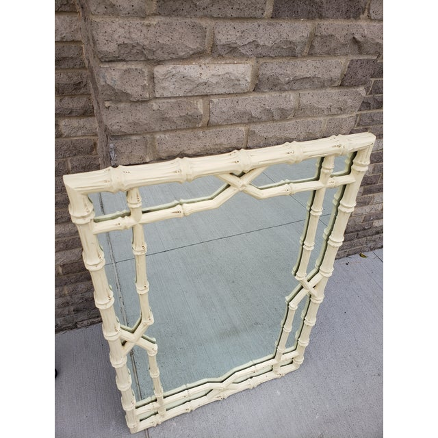 Large Faux Bamboo Hollywood Regency Painted Mirror For Sale - Image 4 of 13