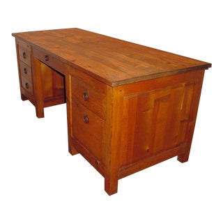 1980s Southwestern Hand-Crafted Executive Desk For Sale