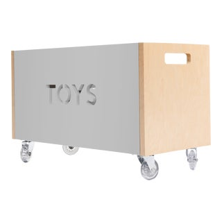 Toy Box Chest on Casters in Birch With Gray Finish For Sale