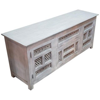 Moroccan Wooden Silver Wash Media Stand For Sale
