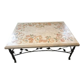 Arts and Crafts Ceramic Hand Painted Coffee Table For Sale