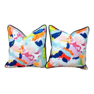 The Blush Label Martin Pillow With Navy Velvet Piping - a Pair