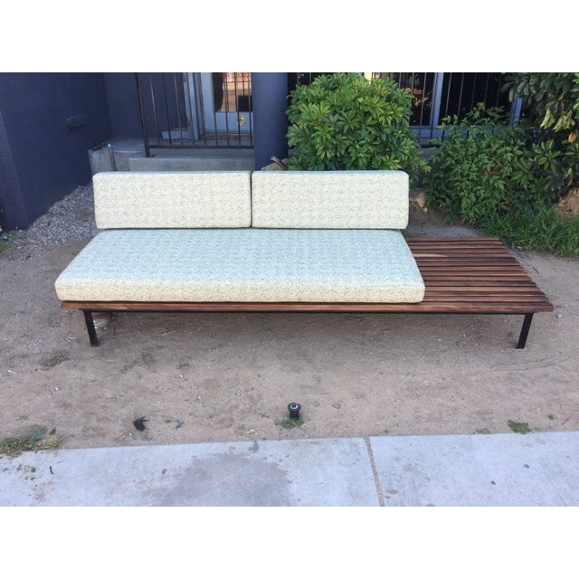 Mid-Century Green Tweed Daybed Sofa & Side Table - Image 3 of 4