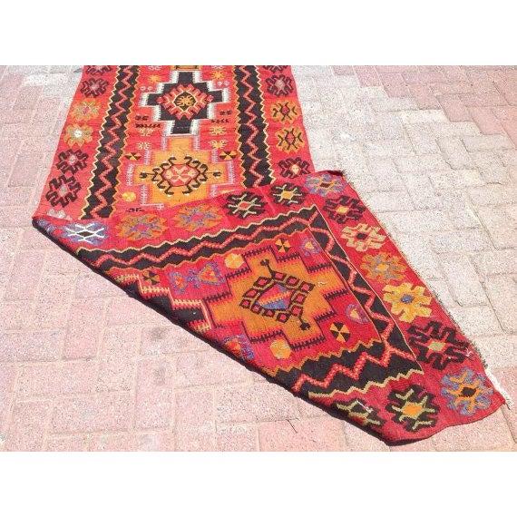Vintage Turkish Kilim Rug - 3′2″ × 11′3″ - Image 6 of 6