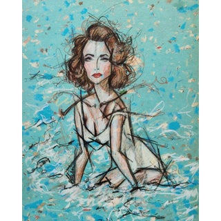 Color Pencil Portrait of Liz Taylor in White Swimsuit on A4 Limited Edition Handmade Paper For Sale