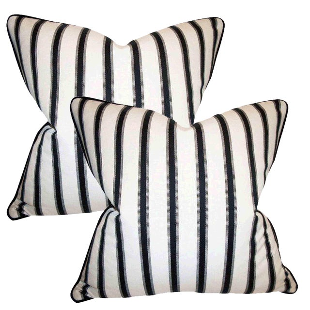 Hamptons Stripe Accent Pillows - A Pair - Image 1 of 4