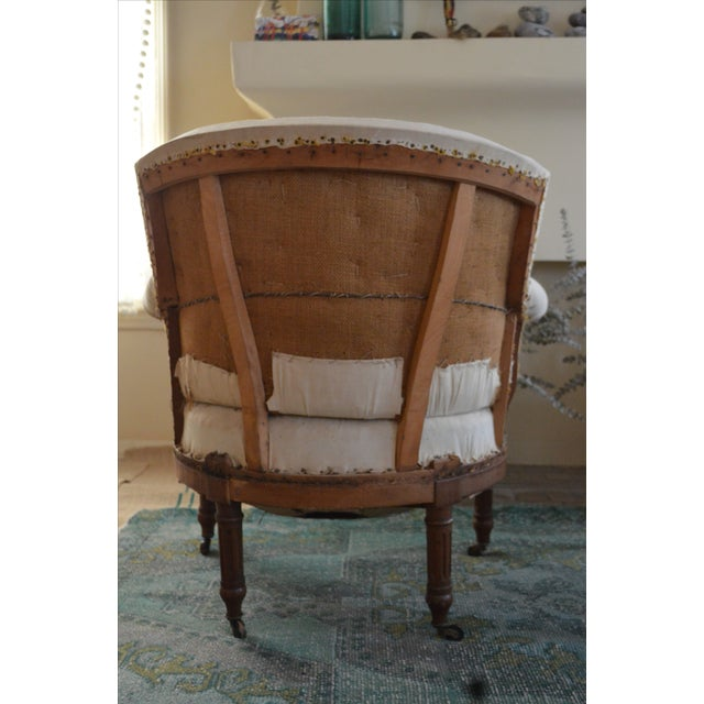 Antique French Napoleon Armchair and Ottoman - Image 4 of 10